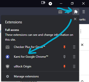 How to open Kami PDF Editor Extension